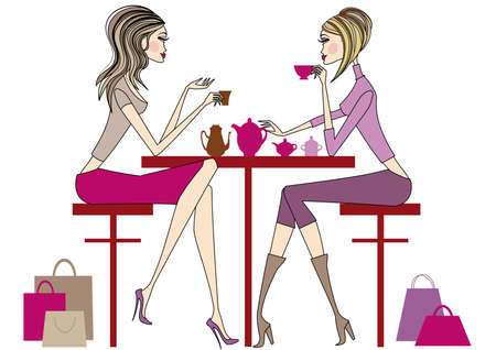 girlfriends: Women sitting in coffee bar, drinking coffee and tea, vector