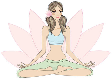 positions: yoga girl sitting in lotus pose, vector