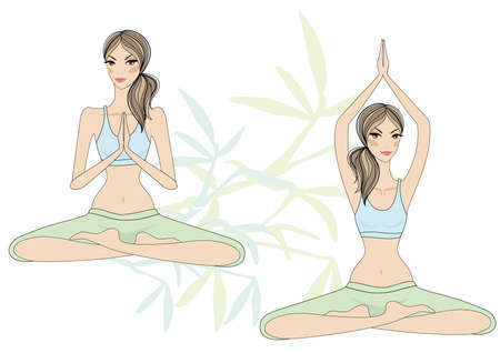 yoga girls sitting in lotus pose, vector Vector