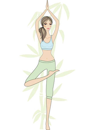 yoga girl with bamboo tree, vector Vector