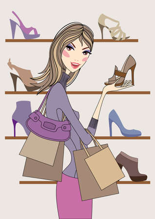 Fashion girl shopping in shoe shop, vector Vector