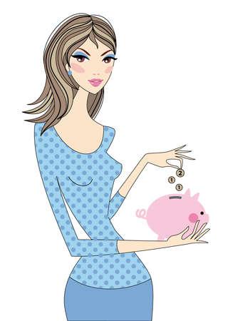 pensioen: Woman geld besparen met een spaarvarken, vector