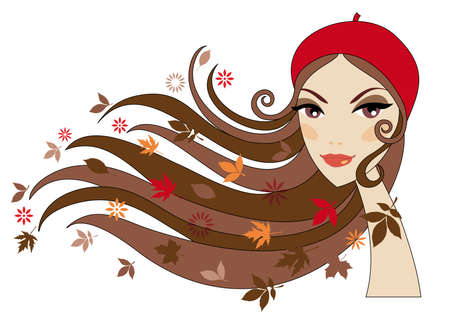 red head woman: Woman with autumn leaves in her hair Illustration
