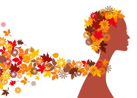 autumn fashion: Woman with autumn leaves
