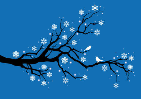winter tree with snowflakes and birds, vector Vector