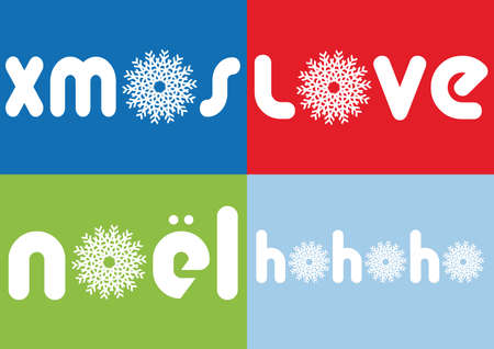 Christmas cards with letters and snowflakes, vector Vector