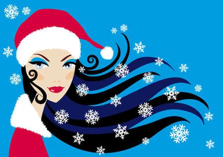 Beautiful santa woman with snowflakes Vector