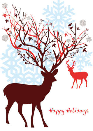 Christmas deer with snowflakes xmas card Illustration