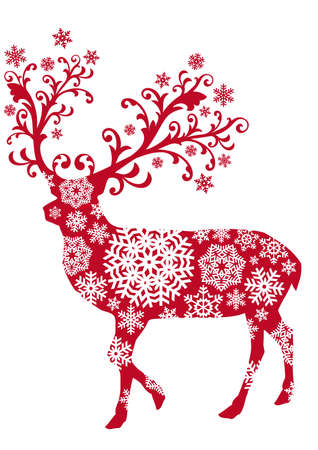 Christmas deer with ornaments and snowflakes