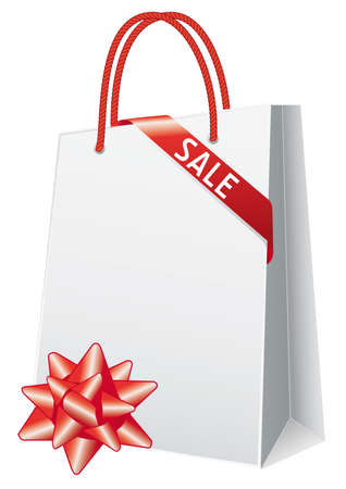 Sale, shopping bag with gift bow, vector Vector