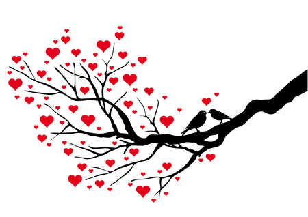 birds kissing on a heart tree, vector background Vector