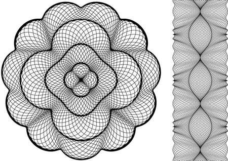 guilloche: guilloche rosette and frame, vector pattern  Illustration