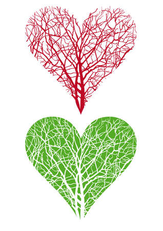 veins: heart shaped tree branch, vector background
