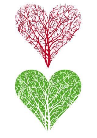 reforestaci�n: rama de un �rbol, vector de fondo en forma de coraz�n