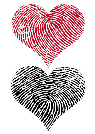 fingerprint card: heart shapes with fingerprint texture,