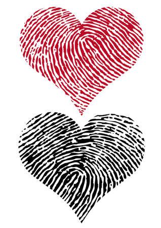 odcisk kciuka: kształty serce z teksturą odcisków palców,