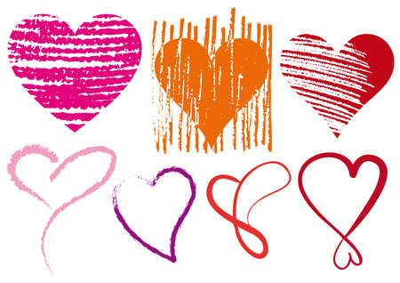 set of doodle hearts with grungy texture Stock Vector - 6303132