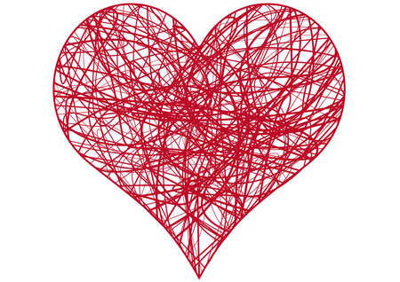 scribbled: heart scribble with lines texture
