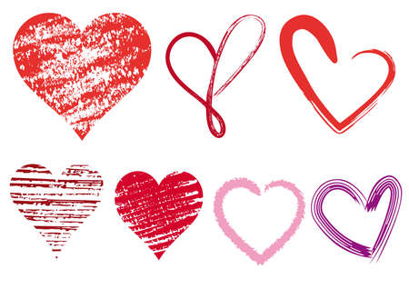 scribble: set of scribble hearts with grungy texture Illustration