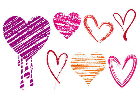 set of doodle hearts with grungy texture Vector