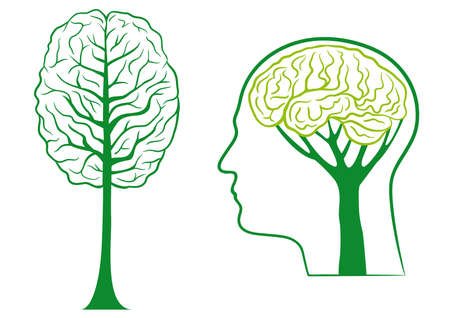 think ecological, green brain tree Vector