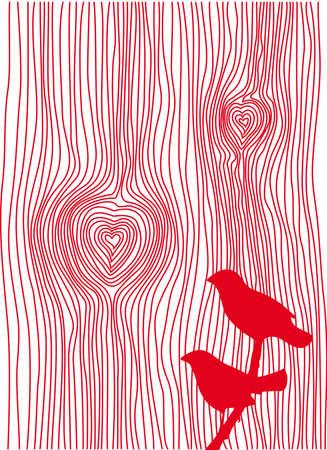 textura de madera de grano con corazones y aves,