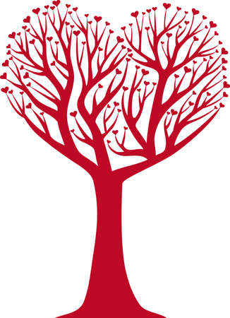 engagement silhouette: heart shaped tree,