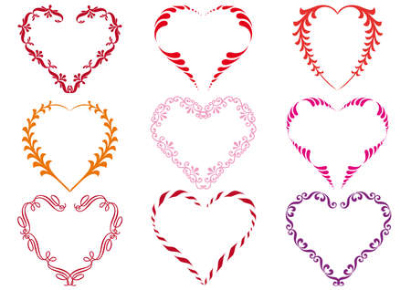 purple hearts: set of floral heart designs,