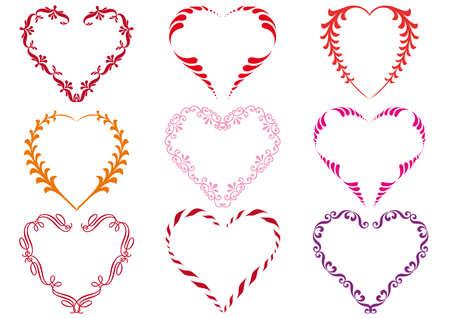 pink border: set of floral heart designs,