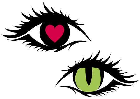 green cat eye and eye with red heart Vector