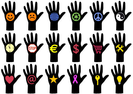set of hand silhouettes with symbols Stock Vector - 6447338