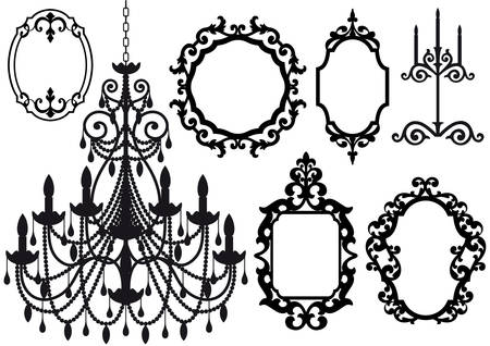 chandelier: antique picture frames and crystal chandelier silhouette
