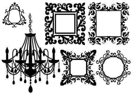 baroque pearl: antique picture frames and crystal chandelier silhouette