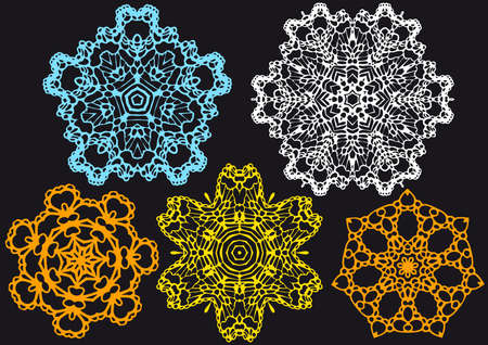 set of lace doilies, pattern Vector