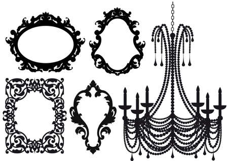 antique picture frames and crystal chandelier silhouette Vector
