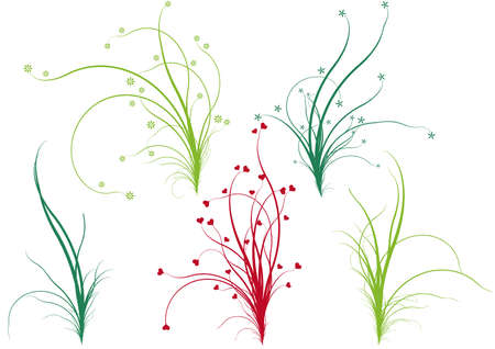 simple life: spring nature, floral grass designs, vector