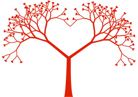 tree of life silhouette: heart shaped tree with heart leaves, vector Illustration