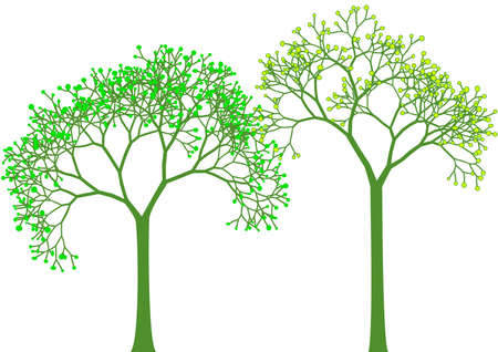 stencil: spring, green tree silhouettes with leaves, vector Illustration