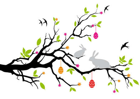 swallow: easter bunnies sitting on a spring tree, vector Illustration