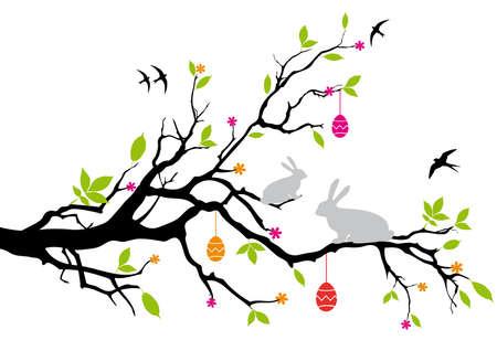 silhouette lapin: Pâques bunnies assis sur un arbre de printemps, vecteur Illustration