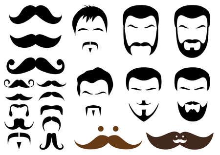 conjunto de diseños de bigote y barba