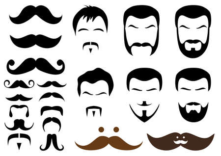 set of mustache and beard designs Vector