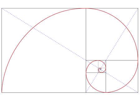spiral: Gouden Fibonacci verhouding Stock Illustratie