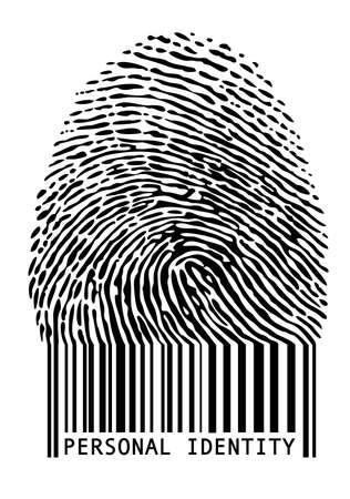 empreintes digitales: identit� personnelle, empreinte digitale avec code � barres, vecteur