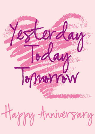 anniversary greeting card with grungy heart, background Stock Vector - 6911989