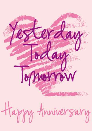 anniversario di matrimonio: biglietto di auguri anniversario con cuore grungy, sfondo