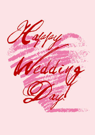 happy wedding's day greeting card with grungy heart, background Stock Vector - 6911935