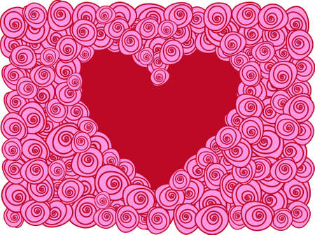 red heart with pink roses, background Vector