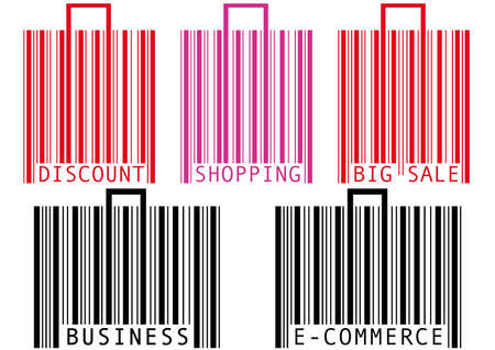 set of bar code shopping bags and suitcases Stock Vector - 6911994