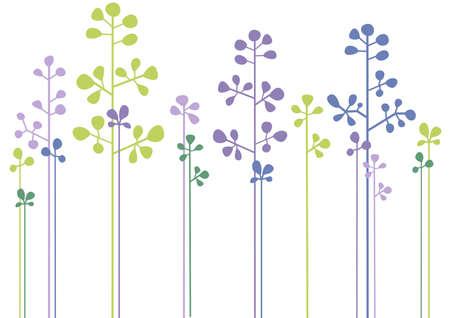 albero stilizzato: moderno, semplice disegno floreale  Vettoriali